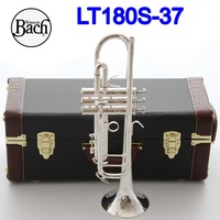 New Bach Bb Trumpet LT180S 37 Silver Plated Music Instruments Profesional Trumpets Student Included Case Mouthpiece Accessories