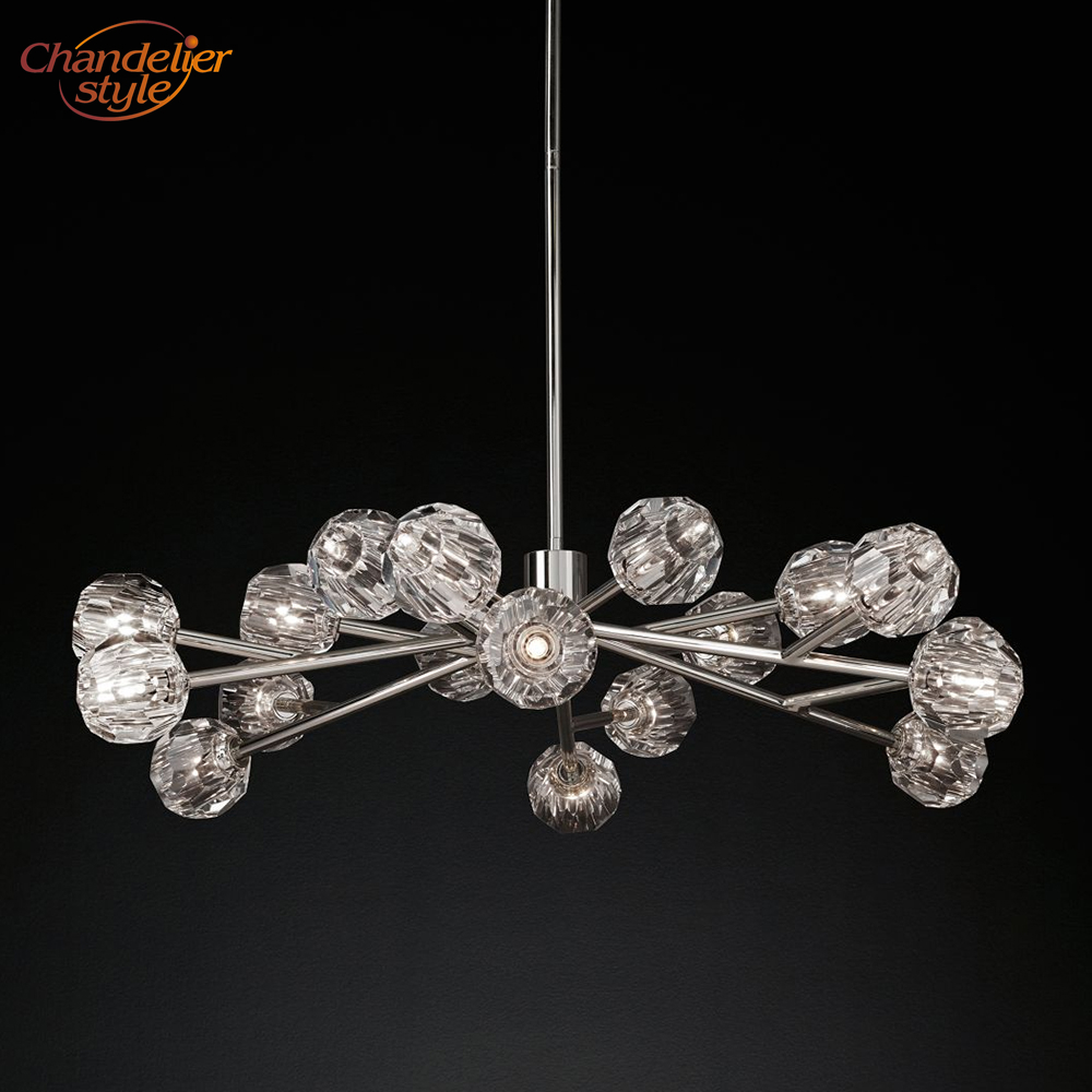 Boule De Cristal Round Chandelier Lighting 48'' Modern Vintage Crystal Chandelier Pendant Hanging Light Restaurant Lighting