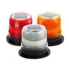 1Pcs 6 LED Emergency Light Beacon Warning Strobe Lamp Round Waterproof Solar panel For Car Truck Caravan Bus