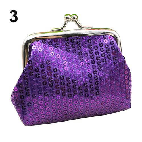 Lantejoulas das Mulheres Fivela Mini Mudança Coin Purse Embreagem Carteira Handy Bag