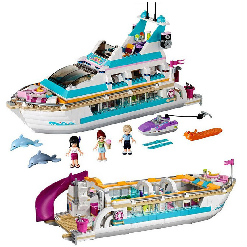 618 PCS Buidling Blocks Model 10172 Girls Friends Dolphin Cruiser Vessel Ship Bricks Figure Toy Educational For Children 41015 стоимость