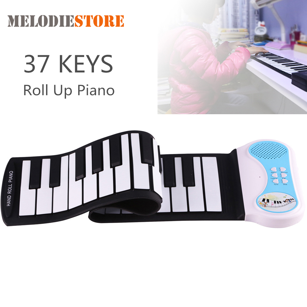 Professional 37 Keys Silicon Flexible Hand Roll Up Piano Soft Portable Electronic Keyboard Organ Music Gift for Children Student portable mini roll up soft silicone flexible electronic digital music keyboard piano with loud speaker for different children