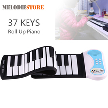 Professional 37 Keys Silicon Flexible Hand Roll Up Piano Soft Portable Electronic Keyboard Organ Music Gift for Children Student roll up piano sound spectrum sticker 49 key electronic organ 49k4 electronic keyboard piano silicon usb charging flexible