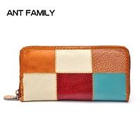 Hot Fashion Genuine Leather Zipper Wallet Women High Quality Vintage Female Long Purse Card Holder Wallets