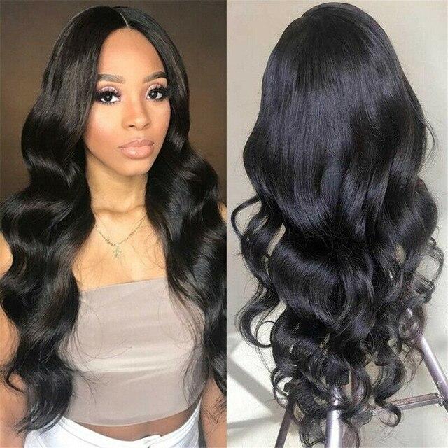 360 Синтетические волосы на кружеве al парик бразильские волнистые волосы 360 Синтетические волосы на кружеве человеческих волос парики, бразильские волосы для черный Для женщин Синтетические волосы на кружеве парики из натуральных волос