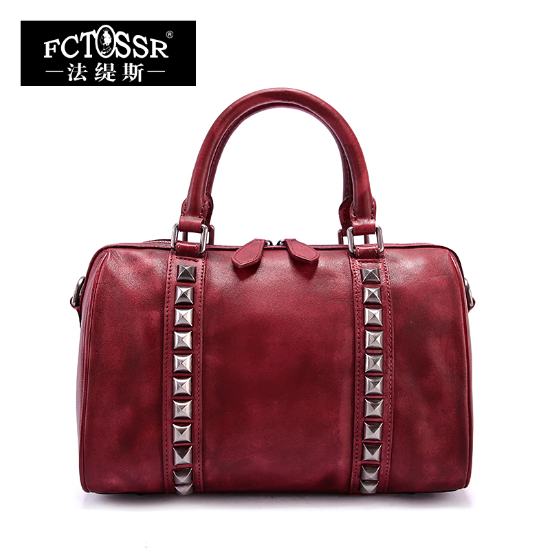 Women Bags 2018 Genuine Leather Vintage Rivet Top Handle Bag Messenger Bag Handmade Cow Leather Shoulder Bags 2018 vintage genuine leather women handbag handmade cow leather top handle bag mix pink green shoulder messenger bag