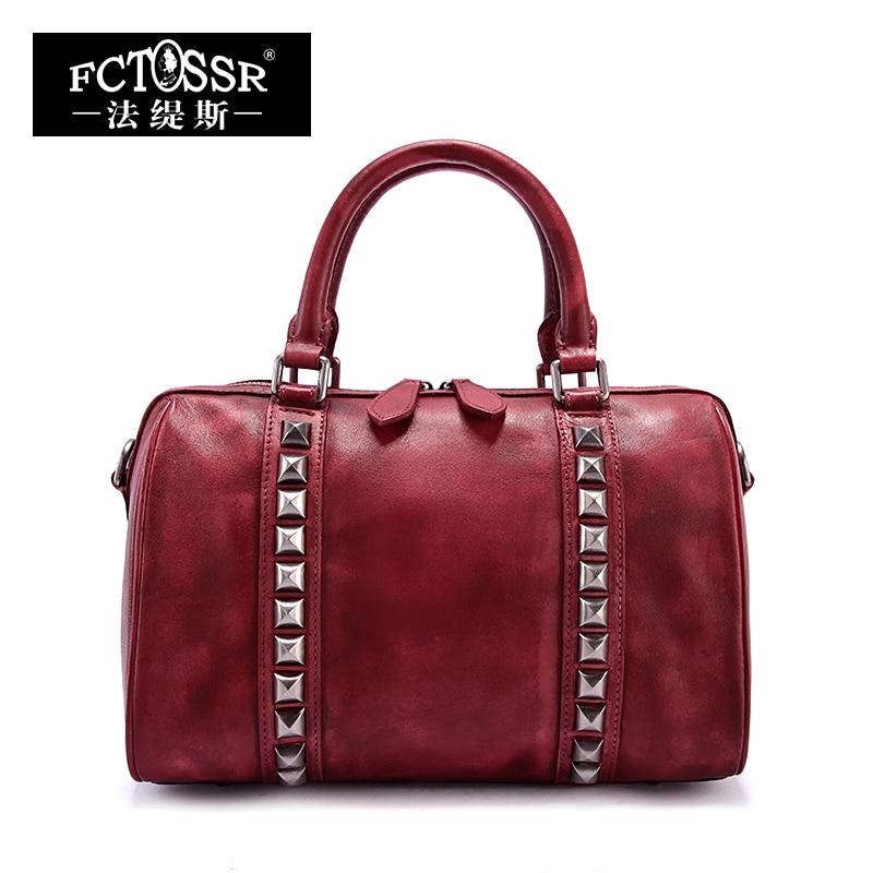 Women Bags 2018 Genuine Leather Vintage Rivet Top Handle Bag Messenger Bag Handmade Cow Leather Shoulder Bags handmade rattan weaving craft top handle genuine leather bags women