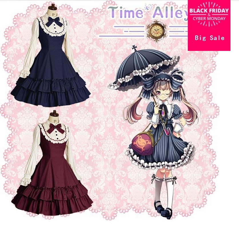 Mori Fille Lolita Princesse Livraison gratuite 2018 été Demoiselle cosplay lolita Robe Rétro dentelle quotidienne robe médiévale gothique robe w276