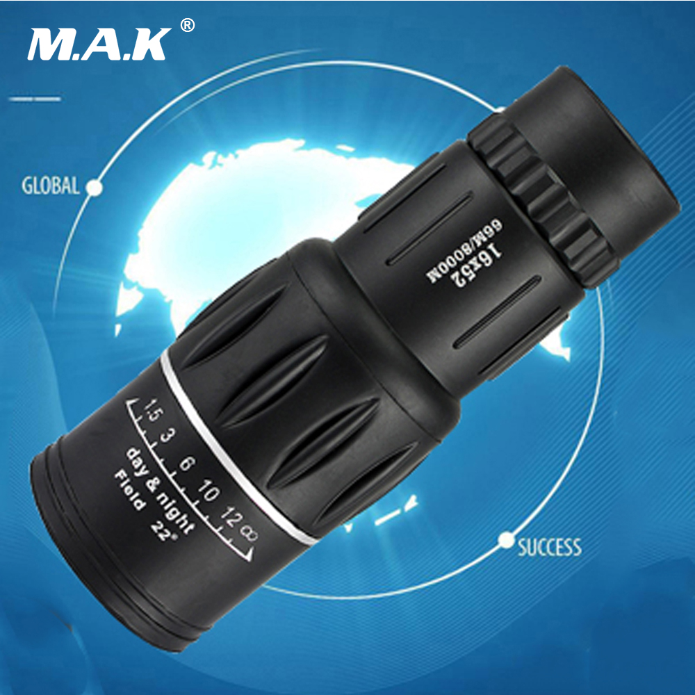 66m/8000m Magnification 16X Monocular Black Dual Focus Zoom Optic Lens Armoring Telescope for Hunting Camping