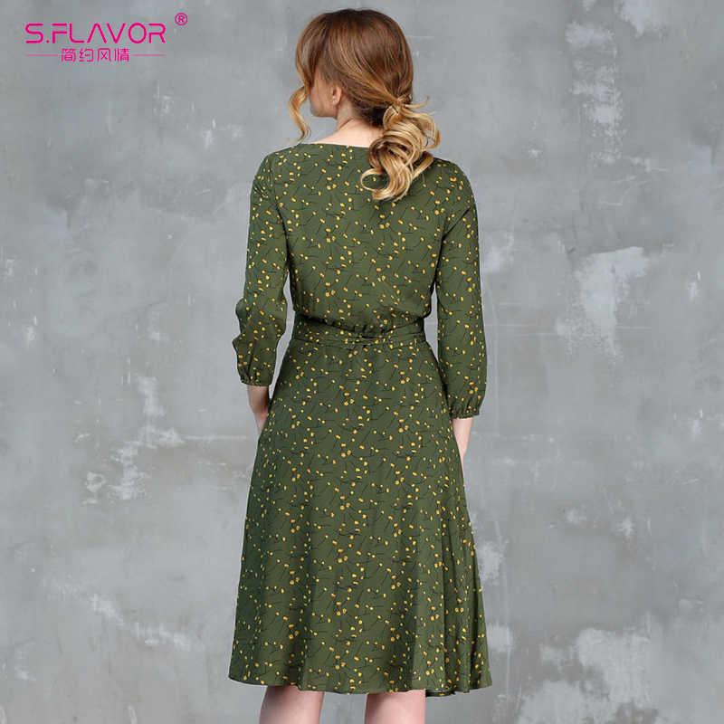 Женские повседневные платья-трапеции S.FLAVOR, элегантное платье до колена с принтом, рукавом 3/4 и О-образным вырезом для весны и лета