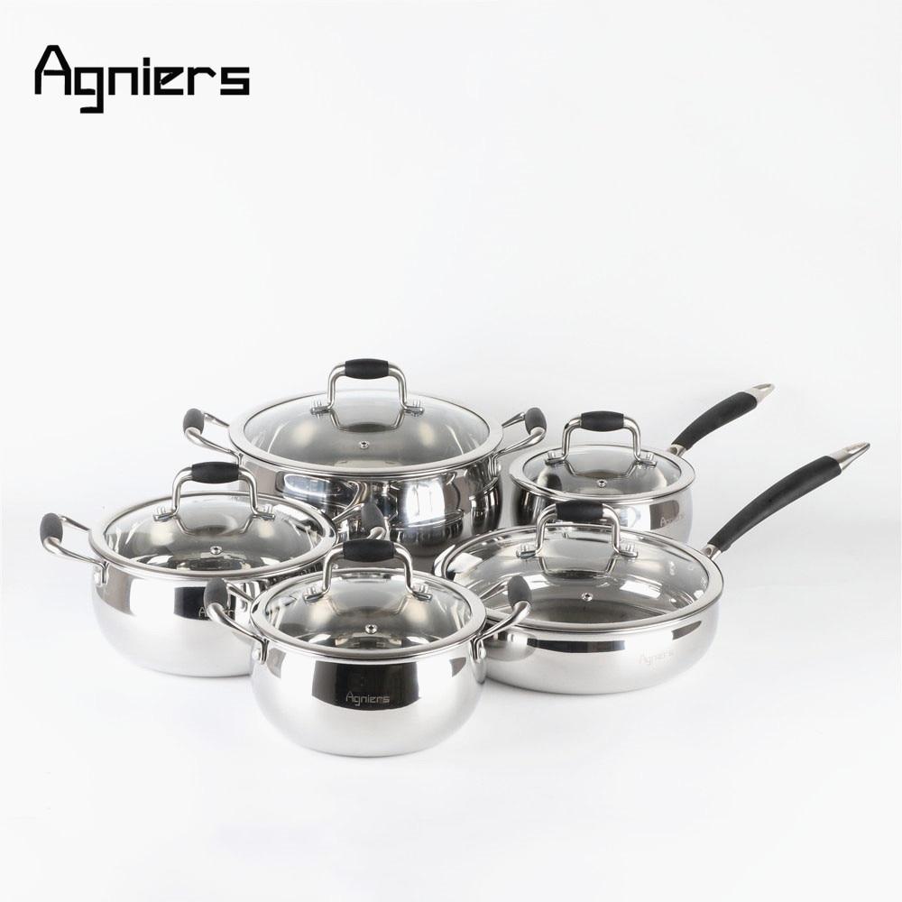 Набор посуды из нержавеющей стали Agniers, 5 кастрюль, 10 шт., светло серебристый, со стеклянной крышкой