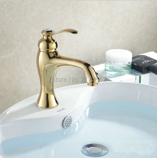 Luxury Gold Plated Bathroom Faucet Moden Hot & Cold Basin Sink Mixer ...
