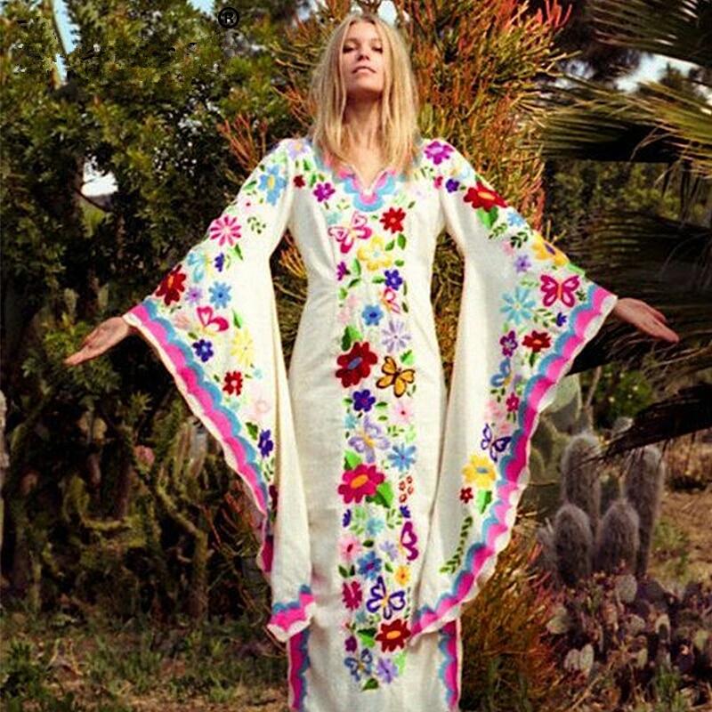 LEDZ Vintage Long Women Dress 2019 Sexy V-neck Summer Floral Boho Beach Dress Long Sleeved Bodycon Dress Embroidery Luxury Dress