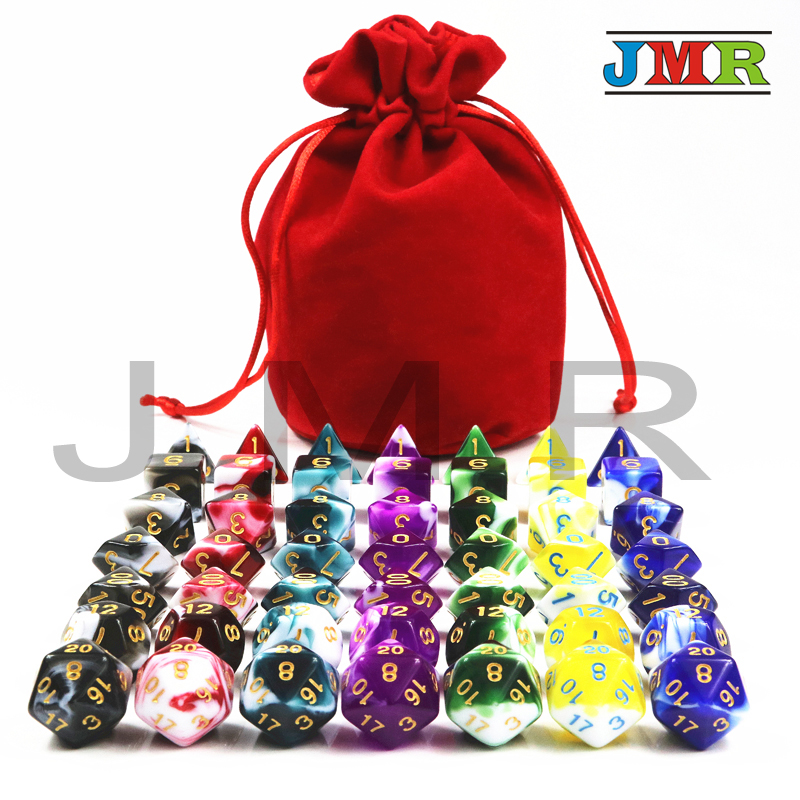 49pcs/bag Polyhedron Dados D&D Dice with Nebula Effect D4 D6 D8 D10 D10% D12 D20,7 Colors Playing Dice for Board Game colorful 14mm 10pcs set acrylic transaprent d6 dice 6 sided gambling red blue green yellow purple dice for drinking board game