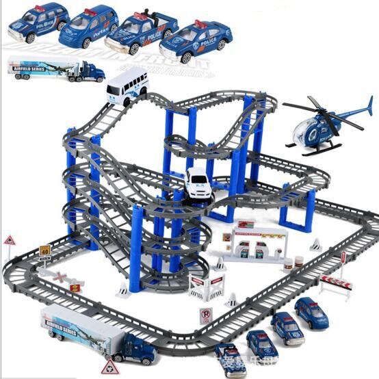 Дети Монтаж блоков игрушки Электрический автомобиль игрушки полиции scence multi-layer трек набор мальчиков подарок на день рождения brinquedos juguetes