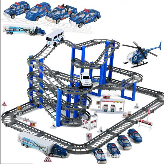 Children Assembling block  toys Electric car toy police scence multi-layer track set boys birthday gift brinquedos juguetes