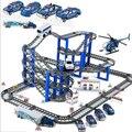 Los niños que Montan los juguetes de bloques de juguete del coche de policía Eléctrico scence pista multi-capa de set niños regalo de cumpleaños brinquedos juguetes