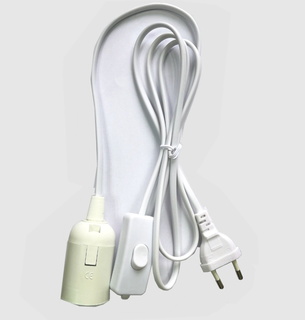 Computer Cables 180cm 5ft E26 E27 LED Light lamp Holder Socket EU US AC Plug Power Cable Cord on//Off Switch Cord Lights Socket Cable Length: 180cm, Color: EU Cable
