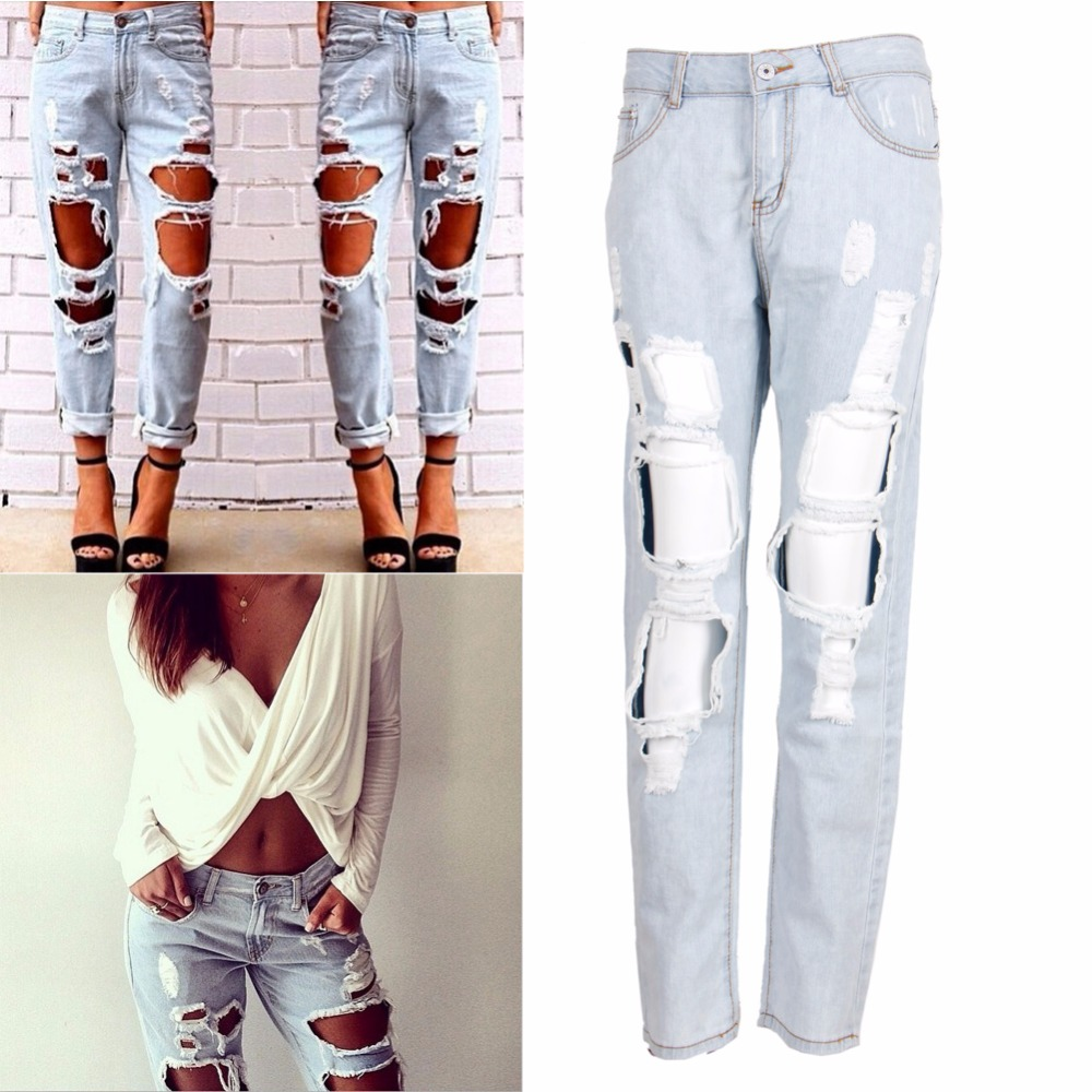 Womens Destroyed Ripped Distressed Slim Denim Pants Boyfriend Jeans Trousers New jmt 4pcs lot 30a simonk 2 4s lipo 5v 3a bec brushless esc mini speed controller for diy multicopter quadcopter drones