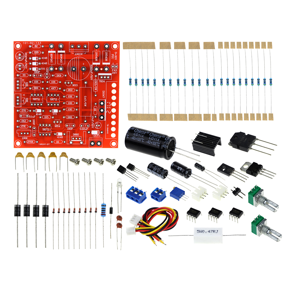 DC Regulated Power Supply DIY Kit Continuously Adjustable Short Circuit Current Limiting Protection DIY Kit 0-30V 2mA-3A wcs1600 hall current sensors measuring 100a short circuit overcurrent protection module