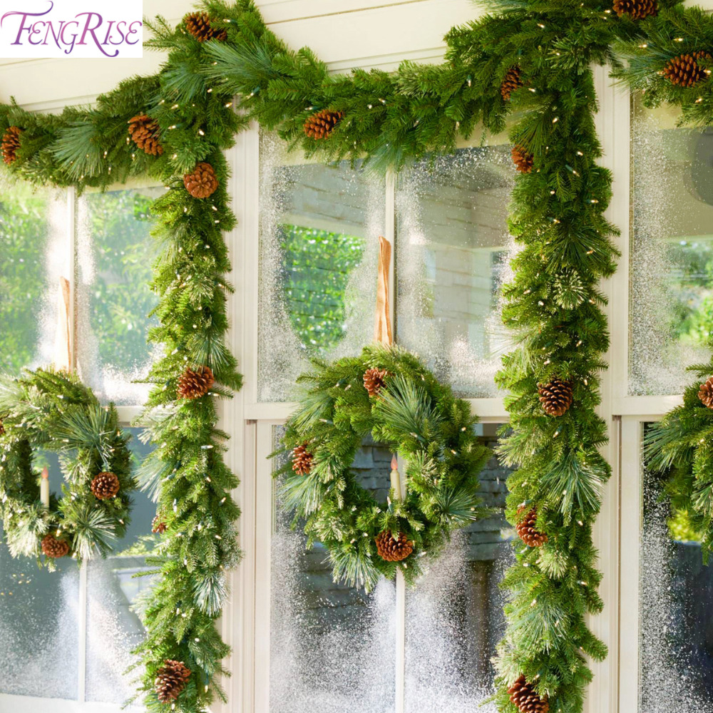 Artificial Christmas Garland.Fengrise Pvc Christmas Garland Green Christmas Rattan
