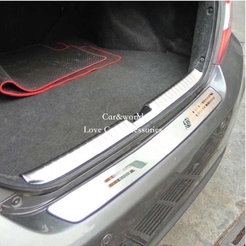 For 2012 to 2015 Honda Civic Rear Bumper Cover Door Sill Protector Tailgate Trunk Trim Stainless Steel Stickers Car Accessories car auto accessories rear trunk molding lid cover trim rear trunk trim for nissan sunny versa 2011 abs chrome 1pc per set