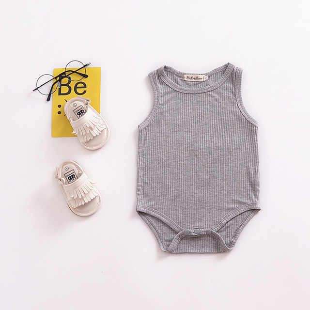 Striped grey Cotton O-neck Baby Jumpsuit