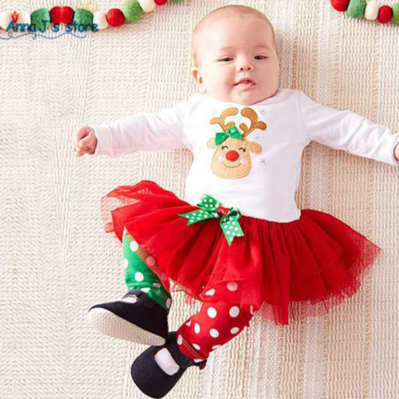 Girl Baby Christmas Costumes Elk Deel Decorated Lace Long Sleeves White Top Dot Pants 2PCS Set Halloween Christmas Disguisement