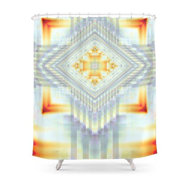 Fractal Art Religious Cross Native American Yellow Orange Shower Curtain Waterproof Polyester Fabric Bathroom Decor Multi