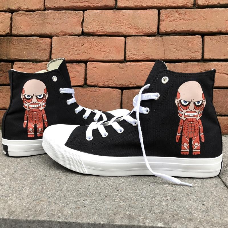 Wen Anime Design High Top Canvas Shoes Men Women Attack on Titan Sport Sneakers White Black Skateboarding Shoes 48 49 Big Size