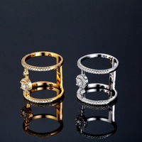 GUOLANSE High Quality Column Shaped Ring White Gold Color CZ Rings For Women Fashion Bagues Pour