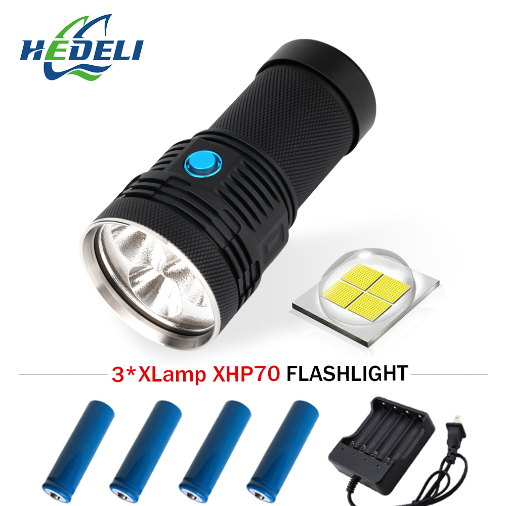 Portable Lighting torch 13000 lumen Super bright flashlight 3 xhp70 led flash light waterproof Lanterna latarka linterna zaklamp super bright flashlight 3 led xhp70 hand torch lamp professional waterproof 18650 battery flash light torch linterna tactica