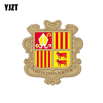 YJZT 11.8M*12.7CM Motorcycle Helmet Sticker Accessories Andorra Shield Coat Of Arms Car Sticker Decal 6-2101 image