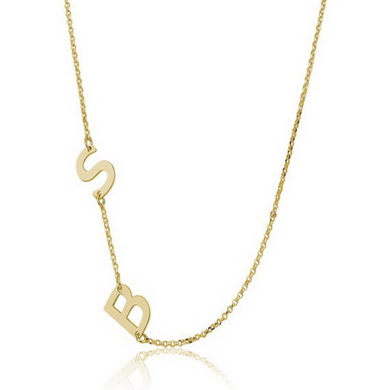 sideways initial necklace two capital letters custom silver initial pendant necklacegold plated necklace