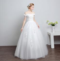 Элегантное кружевное платье из тюля с открытыми плечами, Vestidos De Noiva, украшенное стразами и бисером, ТРАПЕЦИЕВИДНОЕ длинное свадебное платье