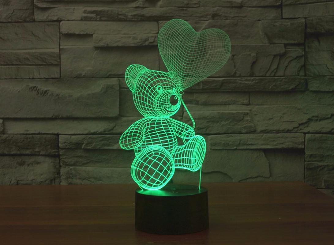 Miś 3D Stereo Vision lampa akrylowa 7 kolory zmiana USB sypialnia nocna lampka nocna kreatywne biurko lampy dekoracje ślubne