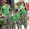 Familia moda otoño 2016 la madre y el niño ropa para la madre y la hija de Camuflaje conjunto zarcillos familia conjunto de los niños