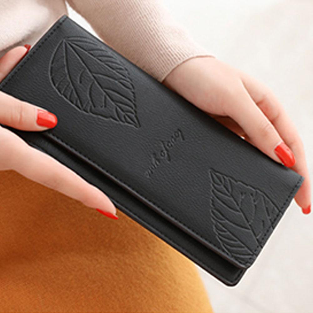 Women Solid Color Long Button Wallet Leaf Double-Layers Card Cash Purse Gift