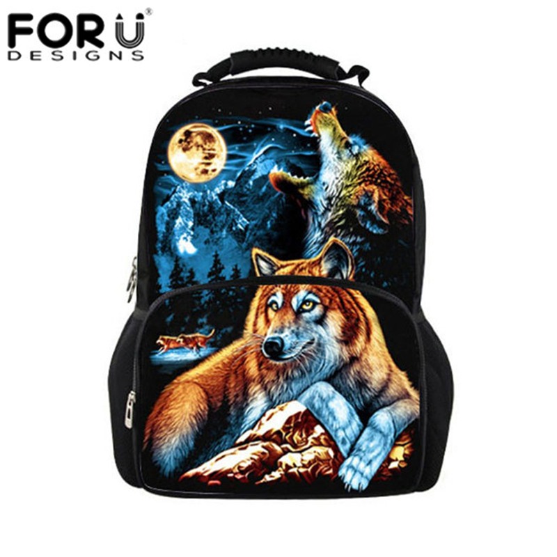 Fashion Men Travel Canvas Backpack,Famous Brands Wolf Printing Backpacks Animal Rucksack Daypack Large Mochilas Boys School Bag