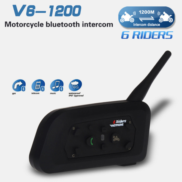 1 UNIDS V6 Casco de La Motocicleta de Bluetooth Intercom 1200 M 6 Jinetes Interfono de Walkie Talkie Para El Esquí Ciclismo ATV Casco Auricular