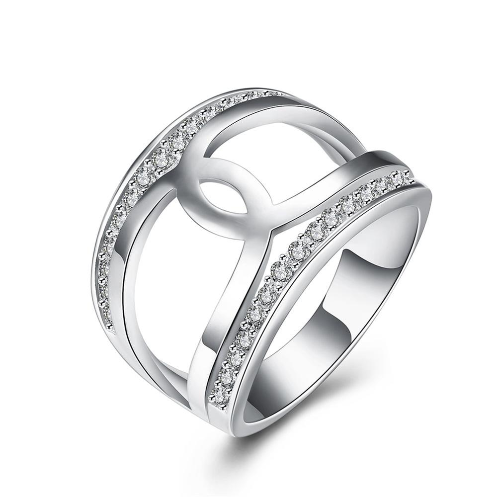 Ring Anel Stainless Steel Silver Plated fashion ring R793-8 Silver plated design finger ring for lady