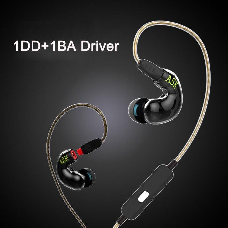 TD92 Earphone with Mic 1DD+1BA Dual Driver Headset HIFI Stereo Bass eadphone Sport Earbuds for iPhone 6 6s xiaomi Samsung Mp3 dzat dt05 dual driver earphone sport running earbuds with mic hifi bass earphones in ear headset for iphone xiaomi mp3