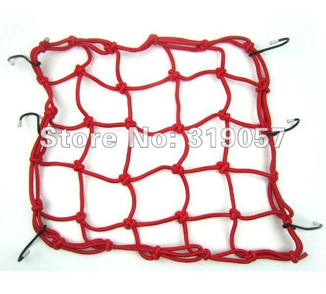 40cm*40cm Motorbike Motorcycle Cargo 6 Hooks Hold Down Net Bungee - Red