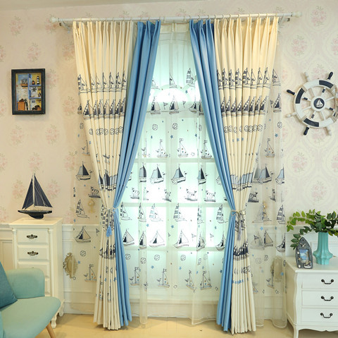 Children's blue sailing embroidery curtain for living room bedroom window treatment tulle window screens for baby room emb voile