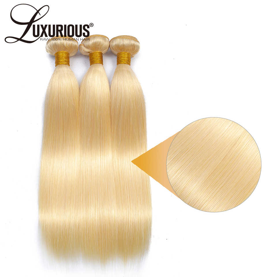 Straight 613 Blonde Color Hair Bundles Brazilian Virgin Hair 1pc / 3pcs Human Hair Weft Can Be Dyed Hair Extension