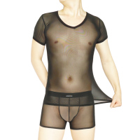 Manview Male transparent sleepwear ultra thin gauze short sleeve T shirt body shaping lingerie top V neck straitest