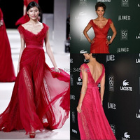Famosa Vestidos Red Chiffon e Laço Romântico Com Decote Em V Cap Mangas Ruched Corpete Sash Vestidos de Celebridades|celebrity gown|celebrity evening gowns|celebrity red dress -