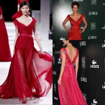 a618ec4f1 Famosos Vestidos de Noche de Gasa Roja y Romántico de Encaje Con Cuello En  V Cap Mangas Acanalada Blusa Sash Vestidos de La Celebridad
