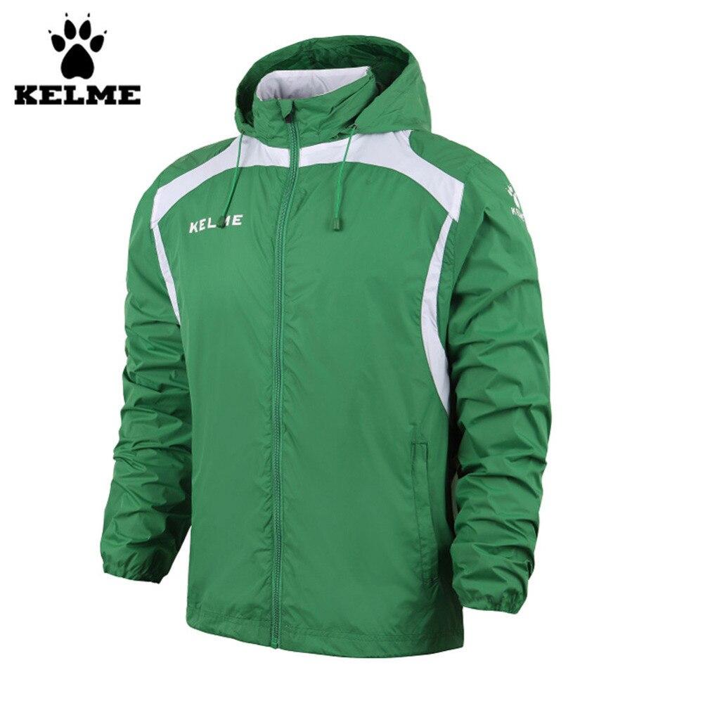 ФОТО Kelme K15S605 Fall/Winter Men Hooded Sports Woven Wind Raincoats Jacket Green