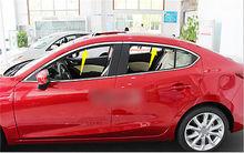 Stainless steel Upper window frame sill Trim 4pcs For Mazda 3 AXELA M3 2014 2015 ipoboo 16pcs stainless steel door window frame sill molding trim for ford fiesta sedan